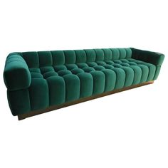 Custom Tufted Green Velvet Sofa with Brass Base | From a unique collection of antique and modern sofas at https://www.1stdibs.com/furniture/seating/sofas/
