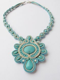 Soutache necklace turquoise and beige turquoise by EditBeadIt, $90.00
