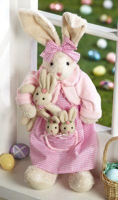 originelle osterdekoration süße Osterhasen - Mutter Hase und drei kleine Hasen