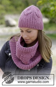 Free knitting patterns and crochet patterns by DROPS Design Knit Cowl, Crochet Beanie, Crochet Shawl, Knitted Hats, Knit Crochet, Drops Design, Lace Knitting, Knitting Patterns Free, Knit Patterns