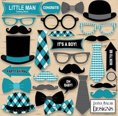 Printable little man photo booth props baby shower black and teal blue pd. Baby Shower Photo Booth, Fotos Baby Shower, Baby Shower Photos, Baby Boy Shower, Little Man Birthday, Boy Birthday, Save Date, Diy Cadeau, Shower Bebe