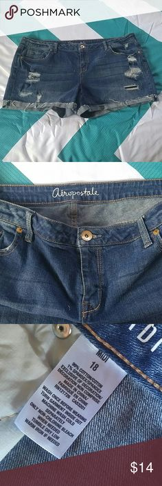 Aeropostale size 18 midi shorts Aeropostale  size 18 midi distressed dark denim shorts. Only worn a few times ready to sell in perfect condition no low-ball offers in no Trading Aeropostale Shorts Jean Shorts