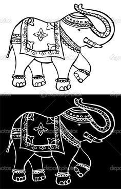 Elephant Fabric, Elephant Pattern, Elephant Art, Embroidery Patterns Free, Hand Embroidery Designs, Dot Painting, Fabric Painting, Diwali Painting, Jewelry Design Drawing