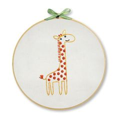 The Giraffe Wall Art Embroidery Kit is a creative DIY hand embroidery kit from Penguin & Fish.  This is a fun embroidery project for beginners and experienced stitchers!  Kit includes cotton muslin fabric, 8-inch embroidery hoop, embroidery floss & needle, decorative ribbon, easy-to-trace pattern, iron-on transfer, stitch & color guide, and simple embroidery instructions. $17.95