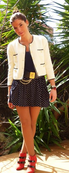 POLKA DOTS CHANEL  #outfit , Blanco in Jackets, Zara in T Shirts,  in Skirts,  in Ankle Boots / Booties, VINTAGE in Belts