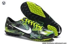 Authentic Nike Mercurial Vapor IX TF TROPICAL PACK (Flash Lime/Black/White) Soccer Cleats