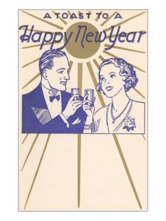 idea 3 Vintage New Year's card.