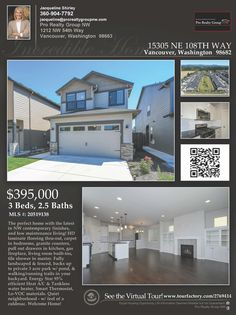 Just Listed! Real Estate for Sale: $395,000-3 Bd/2.1 Ba Turn-Key Two Story NW Contemporary Urban Oaks Home with Greenbelt Views on .07 Acre Landscaped Lot Backs to Private 3 Acre Park with Trails at: 15305 NE 108th Way, Vancouver, Clark County, WA! Area 21. Listing Broker: Jacqueline Shirley (360) 904-7792, Pro Realty Group NW, Vancouver, WA! #realestate #JustListed #UrbanOaksRealEstate #TwoStoryRealEstate #WalnutGroveRealEstate #GreenbeltViews #JacquelineShirley #ProRealtyGroupNW