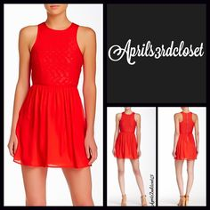 """Red A Line Tank Dress Party Cocktail NEW WITH TAGS RETAIL PRICE: $65   Red Crochet Lace Eyelet Chiffon Skater Dress   * Eyelet Chiffon lightweight fabric; A-Line silhouette   * Exposed back zipper   * Crew neck & fit-and-flare style; Lined   * About 33.5"""" long; Pullover style & relaxed fit   * Vintage style Fabric: 55% Rayon & 45% Polyester, Lining: 100% Polyester  Color: Fiery Red Item:112200  No Trades ✅ Offers Considered*/Bundle Discounts✅  *Please use the 'offer' button to submit an…"""