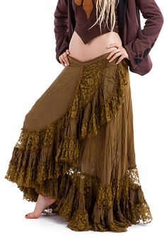 LONG GYPSY SKIRT flamenco skirt long wrap skirt olive by AltshopUK