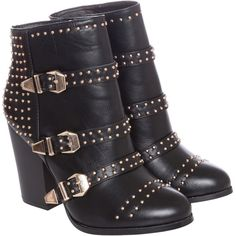 Crafted Stud Buckle Boots (€29) ❤ liked on Polyvore featuring shoes, boots, ankle booties, heels, black heeled booties, block heel booties, black buckle booties, black ankle boots and black booties