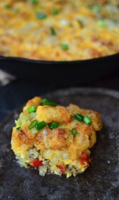 This Tater Tot Breakfast Casserole Has Super Creamy Eggs, Bacon And 2 Kinds Of Cheese! It's Easy To Make Ahead Of Time And Is Perfectly Freezer-friendly!. Tater Tot Breakfast Casserole, Overnight Breakfast Casserole, Breakfast Bake, Sausage Breakfast, Perfect Breakfast, Breakfast Dishes, Breakfast Recipes, Perfect Food, Brunch Recipes
