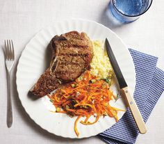 Grilled Fennel-Crusted Pork Chops With Carrot Salad- the kids loved it!