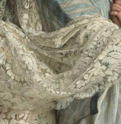 Particolare di opere 3. Emile Munier: Un tenero abbraccio. Olio su tela, del 1887 circa. Collezione privata, Giappone. Uno splendido scialle avvolge le spalle della madre.