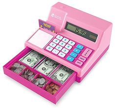 Learning Resources Pretend & Play Calculator Cash Register, Classic Counting Toy, 73 Pieces, Ages 3+, Pink Learn Basic Math, Atm Bank, Minnie Mouse, Princess Toys, Disney Princess, Easter Gifts For Kids, Play Money, Cash Register, Play To Learn