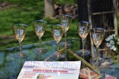 Vintage Champagne Colored with Blue Rim Wine Glasses, Set of After Dinner Drink 4 oz Wine Glasses, Vintage Claret Wine Glasses Vintage Wine Glasses, Etched Wine Glasses, Vintage Champagne, Champagne Color, After Dinner Drinks, Port Wine, Wine And Liquor, Wine Tasting, Wines