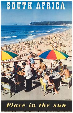 Vintage Beach Posters, Vintage Ads, Durban South Africa, East Africa, Travel Brochure, Beaches In The World, Africa Travel, Illustrations, South Beach