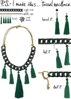 To create: Add a wood bead to the top of each tassel. Separate links on the acrylic chain and link tassels on, placing longest tassel in the center of the chain. Knot each end of the chain with metallic rope (or opt for ribbon), and tie to finish off.