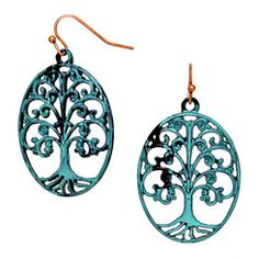 Sale! Turquoise Antique Finish Tree of Life Earrings