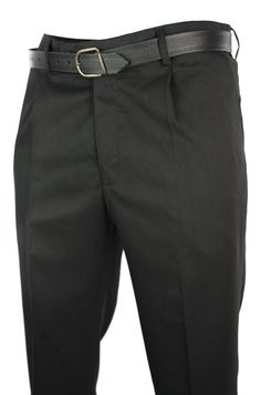 Mens Black Smart Work Office Wedding Trousers W Belt Short Reg Long