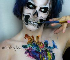 Artsy Heart &Skull  Don't forget to check out our #YouTube channel to see the process of some of our work. @atan_media #skull #humanheart #artsyheart #painting  #halloween #bodypaint #facepaint #mua #specialeffectsmakeup #arttherapy #sfxmakeup #art #artist #atanmedia #otherskin #atanmedia #otherskin #tishrylov #photography #canon #photographer #photograph #photoshoot #closeup