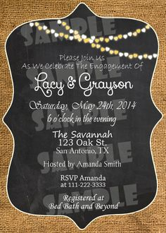Printable Burlap Engagement Party Invitation (Digital File Only)
