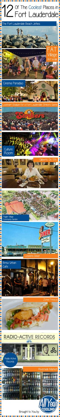 12 Coolest Spots In Fort Lauderdale [Infographic] #broward #southflorida #fortlauderdale