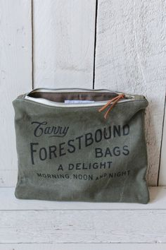 Two Toned WWII Era Canvas Logo Pouch from Fourest Bound bags! $54