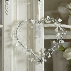 Hand Made Hanging Heart - Pearl Leaves