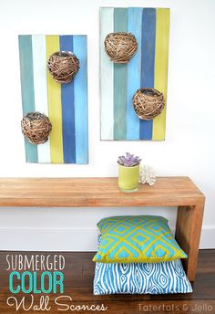 Submerged Color Wall Sconces -- Tatertots and Jello #DIY #LowesCreator