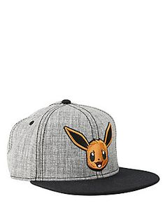 7ec1793cc40c3 Grey and black snapback cap features our favorite Pokemon Eevee. One size  fits most