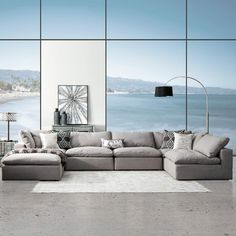 When you sit on this sectional prepare to be surrounded in comfort. Our Peyton Modular Sectional is filled with feathers wrapped in down over high-density foam. Because this simple design is completely modular, you can configure it to meet your n Modular Sectional Sofa, Leather Sectional Sofas, Gray Sectional, Small Sectional, Sofa Sofa, Couches, Sofa Design, Furniture Design, Living Room Sofa