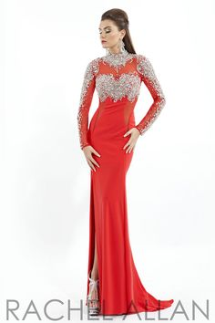 Rachel Allan 5749 - $998.00. Sparkling longsleeves long dress with slit.