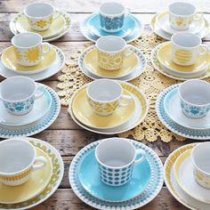 Waiting for my friends to visit us by vintageinteriorxx Vintage Cups, Mid Century Decor, Retro Home, Scandinavian Design, Ceramic Art, Coffee Cups, Tea Pots, Kitchen Design, Dishes