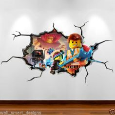 LEGO MOVIE CRACKED WALL Emmit 3D Full Colour Wall Art Sticker Decal Boys Bedroom | eBay