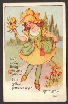 Daffy Down Dilly English Nursery Rhyme Florence E Noswarthy Postcard 1910