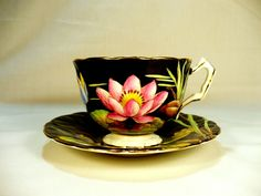 Vintage Aynsley England Bone China Black Lily Footed Cup Saucer Redg No 765788