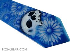 Custom skull tie mens xlong azure blue microfiber by RokGear  Contact us for a Custom necktie https://www.pinterest.com/RokGear/