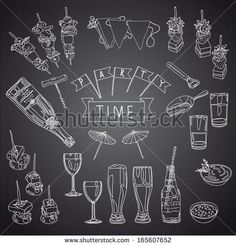 Vector collection of vintage party canapes, dips and drinks icons. Hand drawn vintage Illustration with canapes, cocktails, wine glasses, beer bottles, and dips. Party set. Chalkboard design.