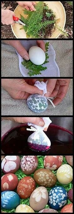 Make beautiful stenciled Easter eggs using plants from your garden and natural dyes made from cabbage, beets, onion skins, ground coffee and turmeric. The natural dyes are a bit much for me, but I love the stenciled effect. Egg Crafts, Easter Crafts, Holiday Crafts, Holiday Fun, Diy And Crafts, Easter Ideas, Easter Recipes, Easter Egg Designs, Cute Egg