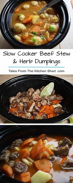 Slow Cooker Beef Stew & Dumplings - the perfect comfort food! A delicious beef stew loaded with vegetables cooked in your Crock Pot & topped with herb dumplings for a hearty one pot meal. A timeless classic you'll never tire of. Slow Cooker Beef, Slow Cooker Recipes, Crockpot Recipes, Freezer Recipes, Beef Stew With Dumplings, Beef Soup Recipes, Vegetable Stew, Vegetable Dishes, Thing 1