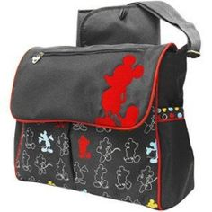Disney Diaper Bag Mickey Mouse Shoulder Messenger Compact Purse Gray Red