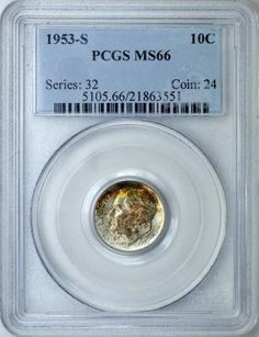Rainbow Toned PCGS MS-66 1953-S Silver Roosevelt Dime Immaculate yellow and greens on a mint 66 coin!!