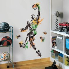 Add a slam dunk decoration to your bedroom with the York Wallcoverings Men's Basketball Champion Peel and Stick Giant Wall Decals. The wall decals will deck your wall out with a men's basketball champion and can be easily removed and repositioned. Bedroom Stickers, Wall Stickers Murals, Wall Murals, Disney Wall Decals, Sports Wall Decals, Basketball Decorations, Dorm Decorations, Kids Wall Decor, Room Decor