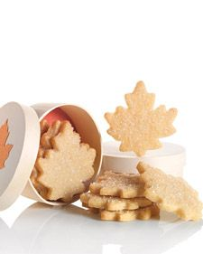 Maple Leaf Cookies, Martha Stewart.   With a nod to the north, these buttery sugar cookies pack a delicate crumb and a pure-maple oomph. Package them inside maple-leaf boxes for a great fall gift.