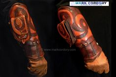 Tooled and quilted leather vambrace made for LARP - LRP by Mark Cordory Creations. www.markcordory.com