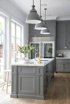 Kitchen | Painted Gray Maple Shaker Style Cabinets