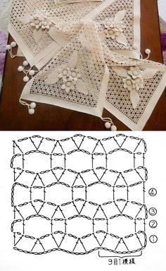 Crochet Edging Patterns, Granny Square Crochet Pattern, Crochet Diagram, Crochet Motif, Crochet Doilies, Knit Crochet, Crochet Placemats, Crochet Table Runner, Crotchet Stitches