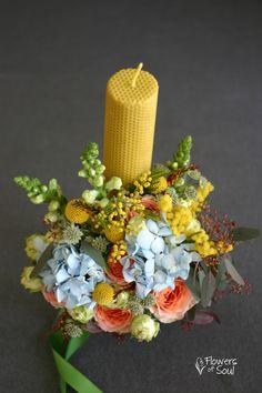Lumânare din ceară de albine cu model fagure – Flowers of Soul Christening, Party Favors, Tulle, Candles, Table Decorations, Greenhouses, Weddings, Business, Green Houses