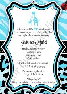 blue safari giraffe baby shower packages- party favors, Baby shower invitations